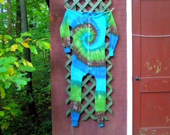 Custom Adult Tie Dye Union Suit,  Long Johns, Long Underwear - Made To Order - Sm, Med, Lg, XL, 2XL - Other colors available