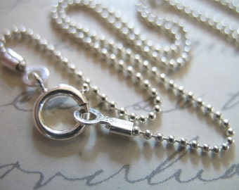 16 or 18 inch, 1 Sterling Silver Chain, Finished Chain, 1 mm Ball Chain Necklace Chain, wholesale solo done d33.t hp
