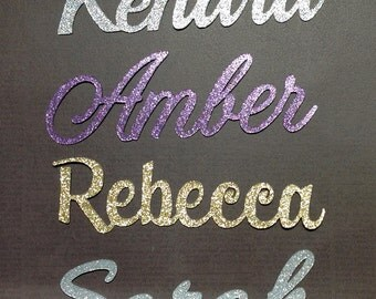cake topper one Glitter name or word up to 8 letters in length in any color glitter