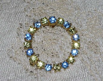 Vintage Blue and White Rhinestone Circle Pin or Brooch