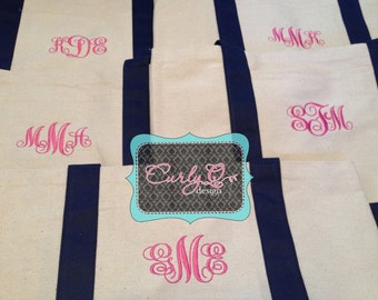 Bridal party gifts - Set of FIVE monogrammed boat tote bags Copy