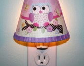 Pink and Purple Owl Girl Nature Forest Woodland NIGHT LIGHT for Girls Bedroom Baby Nursery