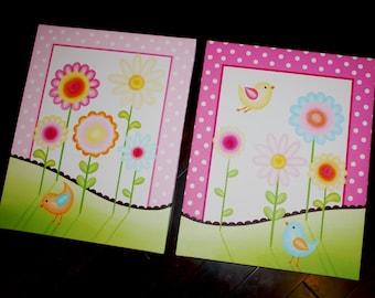 Set of 2 Sweet Meadow Birdie Girls Bedroom Baby Nursery Art Prints on Stretched CANVAS 2CS020
