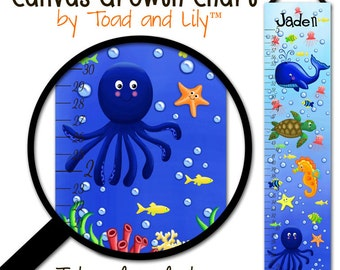 Canvas GROWTH CHART Ocean Creatures Boys Girls Bedroom Baby Nursery Wall Art GC0096