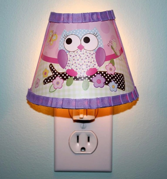 Pink And Purple Owl Girl Nature Forest Woodland Night Light