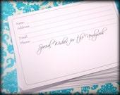 Wedding Address Wish Cards, 50 cards, Special Wish with Address lines, Special Wish Cards, 4 x 6 cards