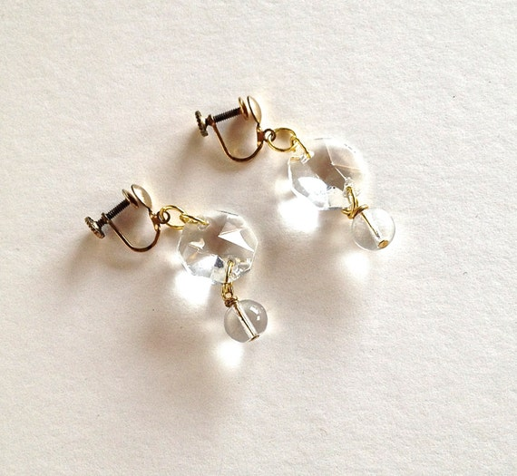 RESERVED for Ina - crystal & glass earrings - vintage and recycled jewelry - ice