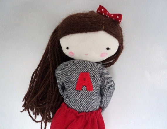 Anna, rag doll - cloth art rag doll red skirt capital shirt