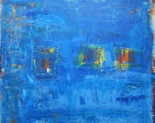 Abstract Landscape Original Painting, Blue Green Art by Francine Ethier, 24 x 36 inches