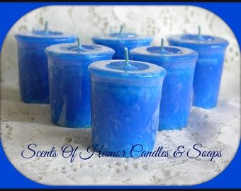 BLUEBERRY CHEESECAKE Scented Votive Candles - Dessert Scent - Handmade Votive Candle - Highly Scented - Set Of 6 In Gift Box - Made in USA
