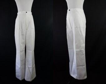 1970s NOS High Waist Sailor Pants White Wide Leg Trousers Large