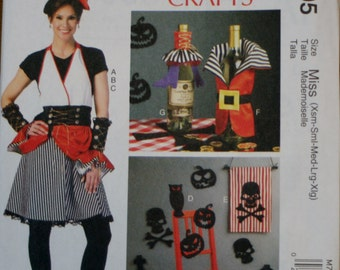 McCall's M7005 Misses' Halloween Pirate Costume and Decorations Sewing Pattern New/Uncut Size Extra Small, Small, Medium, Large, Extra Large