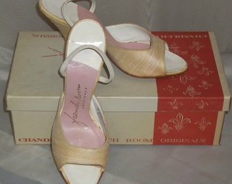 Vintage Deadstock 1950's Chandler's French Room Originals Silk Heels Shoes Pumps 6 1/2B w/Box