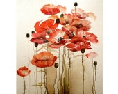 Watercolor Original Painting Art 22x30 cm (8.5x11.2 inch) Red Bloom