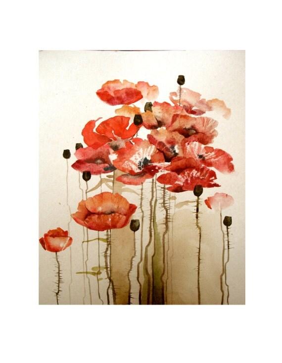 Watercolor Original Painting Art 22x30 cm (8.5x11.2 inch) Red Bloom