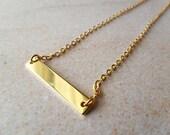 CLEARANCE - Gold Bar Necklace Minimalist, dainty, thin jewellery, modern simplicity