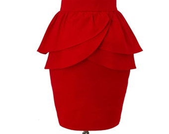 Double layer Peplum Pencil Skirt, Custom Fit, Handmade, Fully Lined