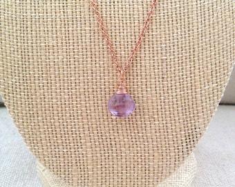 Faceted Lavender Amethyst Teardrop Pendant Necklace on Copper