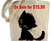 Cute Kitty tote bag - Canvas tote bag - recycled tote bag - shopping bag