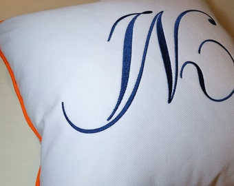 embroidery monogram pillow white cotton sunbrella linen orange blue any color outdoor indoor