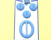 BLUE Vintage Matching Buttons, Thread, and  Buckle or Sash on Original Card - Superior Quality