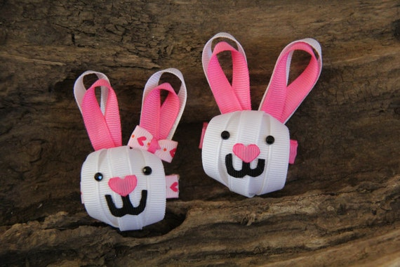 Bunny, Rabbit, Ribbon Sculpture, Hair Clip, Spring, Easter