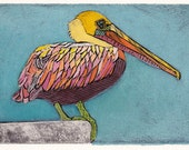 Pelican Art Print, Original Fine Art Collograph, Large Waterbird, Pelican on Blue 9
