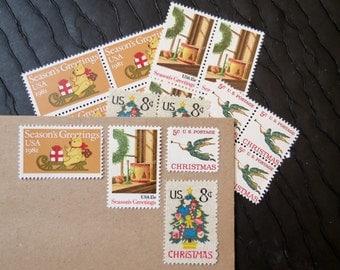 Christmas .. Handmade .. UNused Vintage Postage Stamps  .. post 5 letters