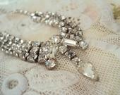 Aunt Clara's mid-century Rhinestone Necklace - bride or ballgown accessory