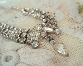 Aunt Clara's mid-century Rhinestone Necklace - bride or ballgown accessory