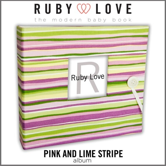 Pink and Lime Stripe Baby Book | Ruby Love Modern Baby Memory Book