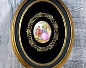 enchanting vintage oval picture...    home decor...  framed art... L, t8