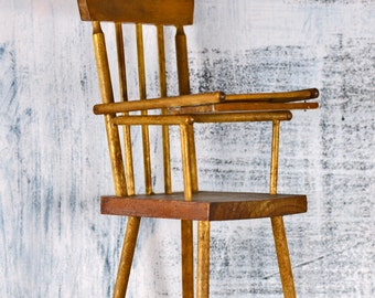 antique wooden doll highchair...   gorgeous patina...   s1 L