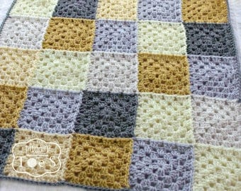Crochet Baby Blanket - Granny Square - Crochet Blanket - Modern Baby Bedding - Yellow and Gray Bedding