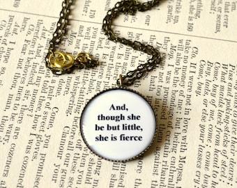 Shakespeare quote necklace. Midsummer Night's Dream, graduation, summer gift, round, antique bronze