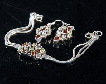 Gemstone Bracelet & Earrings, Garnet, Peridot, Amethyst, Citrine, Sterling, Tube Bezel, Snake Chains, Hinged Dangles, Excellent Condition