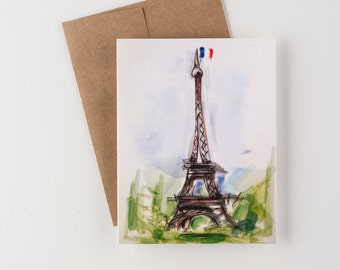 For The Francophile, I Love Paris Greeting Card, Water Color Eiffel Tower