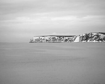 Black and White Seascape - 12x8 - Isle of Wight - seaside, coast, landscape, cliffs, bathroom decor, England