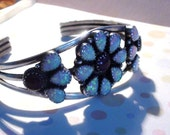 Bracelet Navajo  Sterlng Silver with Opals and Obsidian Mahogany High Collectible Possible Zuni