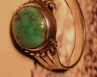 Natural Turquoise with Silver Spots and sterling silver  Size 7 Vintage Art Indian Southwest Large Front 14mm X 12mm