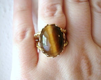 Vintage gold  and tigers eye oval rope ring- fully adjustable