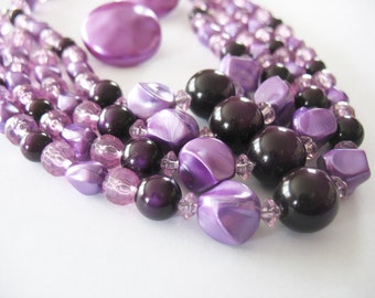 Purple Statement Necklace Earrings Lucite Multi Strand 1950's
