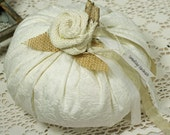 Fabric Pumpkin Real Dried Stem Handmade of White Brocade with Burlap Leaf  Shabby Cottage Chic