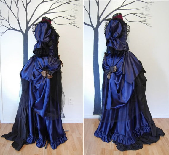 blue steampunk goth victorian inspired costume dress 33 inch