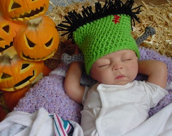 Frankenstein Hat, Newborn to 3 Month, Halloween Baby Hat, Photo Prop