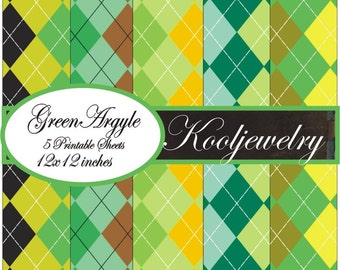 Green Argyle paper pack - No.139