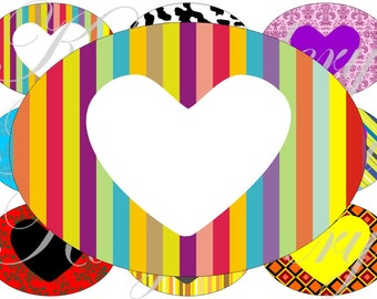 Lovely Hearts for large oval for belt buckle and more digital collage sheet No.1471