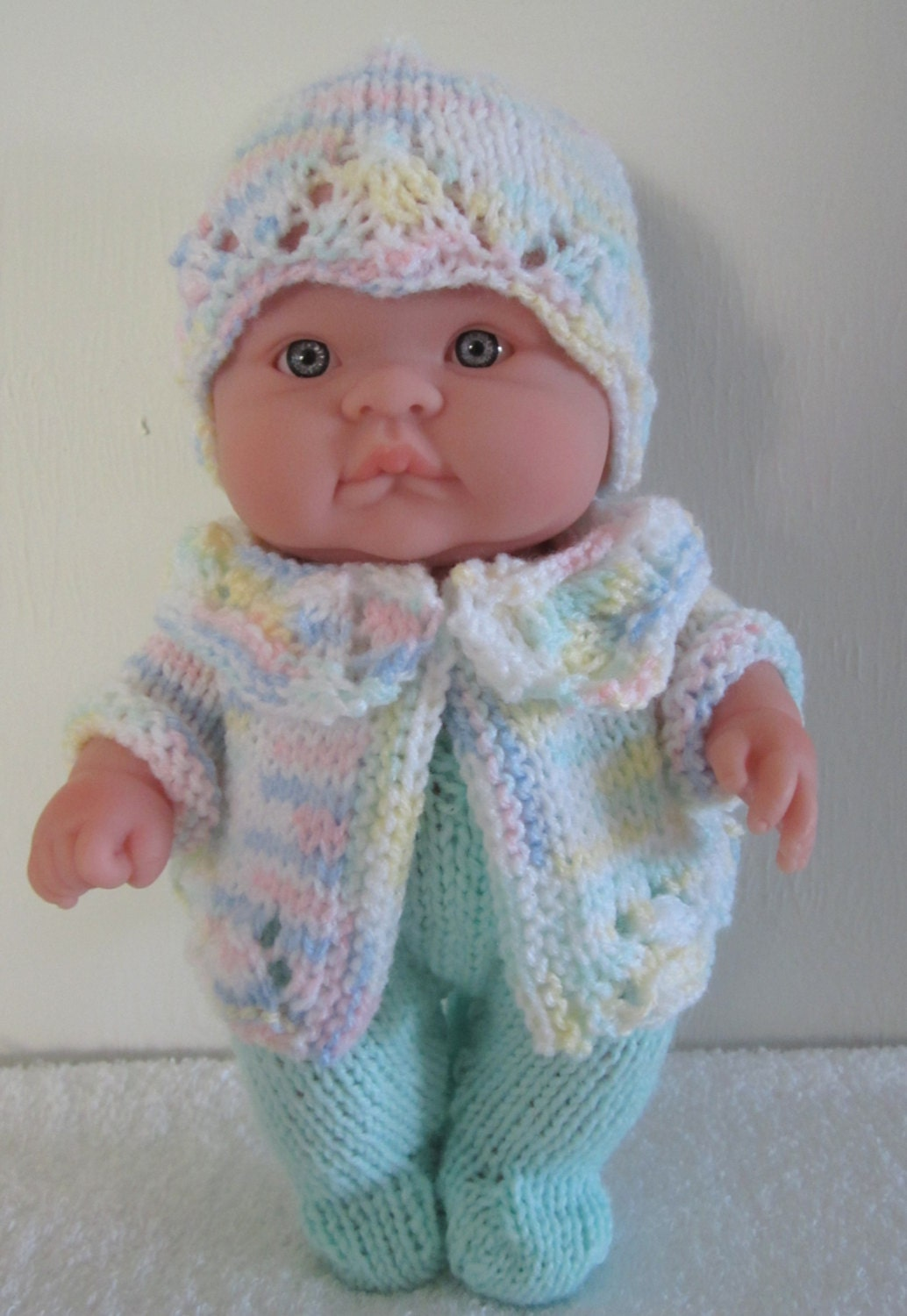 Knitting Patterns For Baby Newborn Doll : Knitting Pattern Berenguer Baby Doll Lace Pram Set for the ...