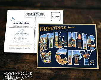 Save the Date Postcard Greetings from Atlantic City