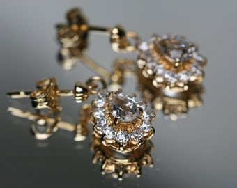 Gold Tone Topaz and CZ Post Earrings- NOS